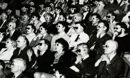 1950s audience wearing 3D glasses