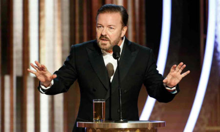 Ricky Gervais addressing the Golden Globes 2020
